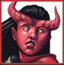Somna's appearance. A red tiefling woman.
