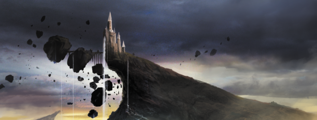 Illustration of a castle atop a craggy cliff in a cloudy, mystical environment. This represents the Grand Archives atop its hill.