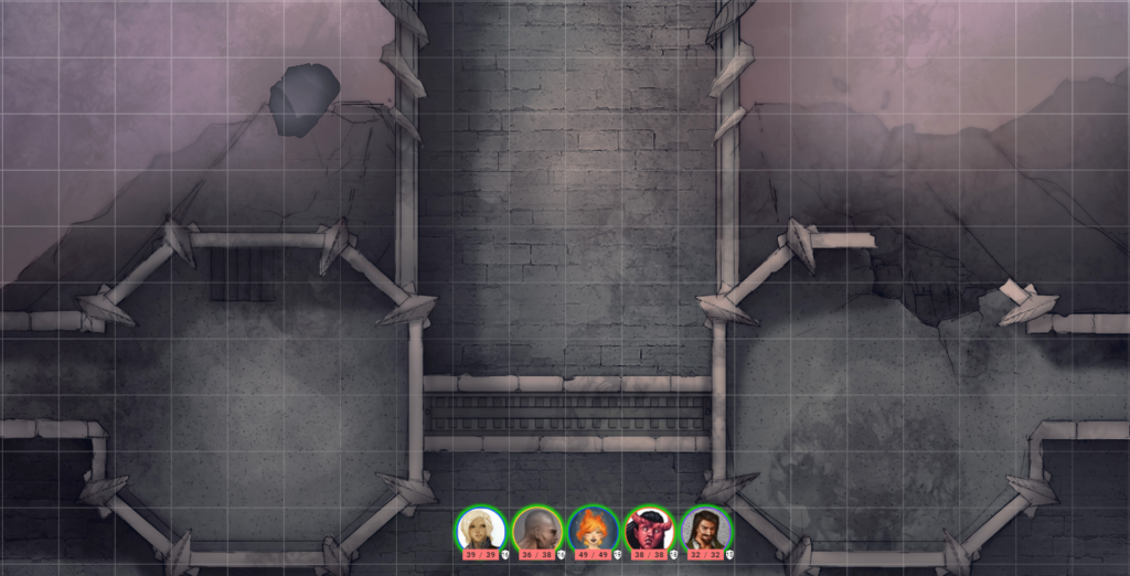 Battle map depicting a crumbling stone bridge spanning an abyssal gap in a dark, muted chamber. Five party member tokens stand at the start of the bridge, each representing a player character.