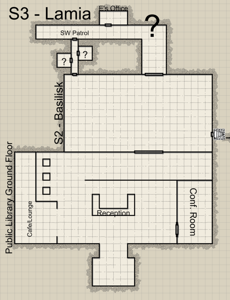 This is a floor plan of The Grand Archives. It shows the main lobby, Section 2, and a small portion of Section 3. The floor plan has an old school dungeon map art style with sepia tones.